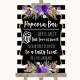 Black & White Stripes Purple Popcorn Bar Customised Wedding Sign