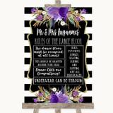 Black & White Stripes Purple Rules Of The Dance Floor Customised Wedding Sign