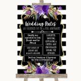 Black & White Stripes Purple Rules Of The Wedding Customised Wedding Sign