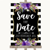 Black & White Stripes Purple Save The Date Customised Wedding Sign
