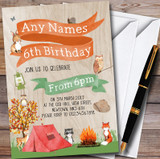 Woodland Forest Animals Camping Customised Children's Party Invitations