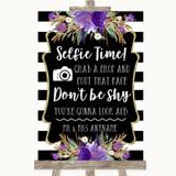 Black & White Stripes Purple Selfie Photo Prop Customised Wedding Sign