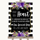 Black & White Stripes Purple Sign a Heart Customised Wedding Sign