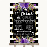 Black & White Stripes Purple Signature Favourite Drinks Wedding Sign