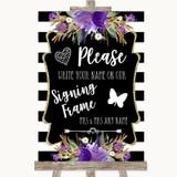 Black & White Stripes Purple Signing Frame Guestbook Customised Wedding Sign