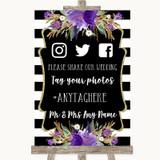 Black & White Stripes Purple Social Media Hashtag Photos Wedding Sign