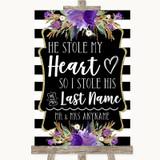 Black & White Stripes Purple Stole Last Name Customised Wedding Sign