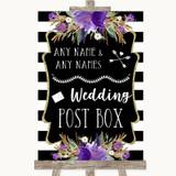 Black & White Stripes Purple Card Post Box Customised Wedding Sign