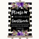 Black & White Stripes Purple Take A Moment To Sign Our Guest Book Wedding Sign
