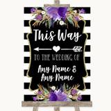 Black & White Stripes Purple This Way Arrow Left Customised Wedding Sign