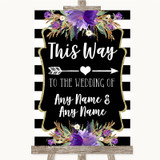 Black & White Stripes Purple This Way Arrow Right Customised Wedding Sign