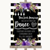 Black & White Stripes Purple Toiletries Comfort Basket Customised Wedding Sign