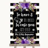 Black & White Stripes Purple Wedding Blanket Scarf Customised Wedding Sign