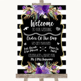 Black & White Stripes Purple Welcome Order Of The Day Customised Wedding Sign
