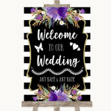 Black & White Stripes Purple Welcome To Our Wedding Customised Wedding Sign