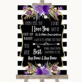 Black & White Stripes Purple When I Tell You I Love You Wedding Sign