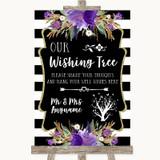 Black & White Stripes Purple Wishing Tree Customised Wedding Sign