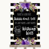 Black & White Stripes Purple Wishing Well Message Customised Wedding Sign