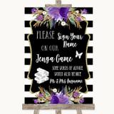 Black & White Stripes Purple Jenga Guest Book Customised Wedding Sign