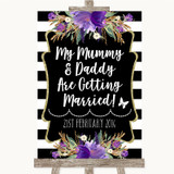 Black & White Stripes Purple Mummy Daddy Getting Married Wedding Sign