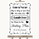 Black & White All Family No Seating Plan Customised Wedding Sign