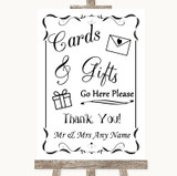 Black & White Cards & Gifts Table Customised Wedding Sign