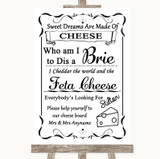 Black & White Cheese Board Song Customised Wedding Sign