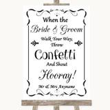 Black & White Confetti Customised Wedding Sign