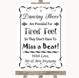 Black & White Dancing Shoes Flip-Flop Tired Feet Customised Wedding Sign