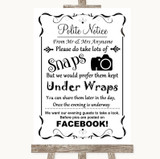 Black & White Don't Post Photos Facebook Customised Wedding Sign