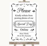 Black & White Don't Post Photos Online Social Media Customised Wedding Sign