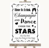 Black & White Drink Champagne Dance Stars Customised Wedding Sign