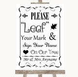 Black & White Fingerprint Tree Instructions Customised Wedding Sign