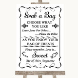 Black & White Grab A Bag Candy Buffet Cart Sweets Customised Wedding Sign