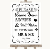 Black & White Guestbook Advice & Wishes Gay Customised Wedding Sign