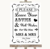 Black & White Guestbook Advice & Wishes Lesbian Customised Wedding Sign