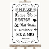 Black & White Guestbook Advice & Wishes Mr & Mrs Customised Wedding Sign