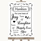 Black & White Hankies And Tissues Customised Wedding Sign