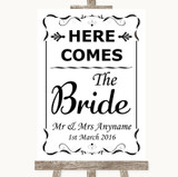 Black & White Here Comes Bride Aisle Sign Customised Wedding Sign