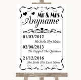 Black & White Important Special Dates Customised Wedding Sign
