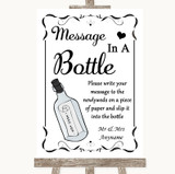 Black & White Message In A Bottle Customised Wedding Sign