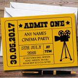 Golden Yellow Admit One Movie Film Cinema Children's Birthday Party Invitations