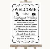 Black & White No Phone Camera Unplugged Customised Wedding Sign