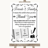 Black & White Photo Guestbook Friends & Family Customised Wedding Sign