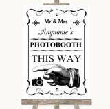 Black & White Photobooth This Way Left Customised Wedding Sign