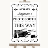 Black & White Photobooth This Way Right Customised Wedding Sign