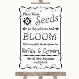 Black & White Plant Seeds Favours Customised Wedding Sign