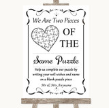 Black & White Puzzle Piece Guest Book Customised Wedding Sign