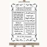 Black & White Romantic Vows Customised Wedding Sign