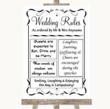 Black & White Rules Of The Wedding Customised Wedding Sign